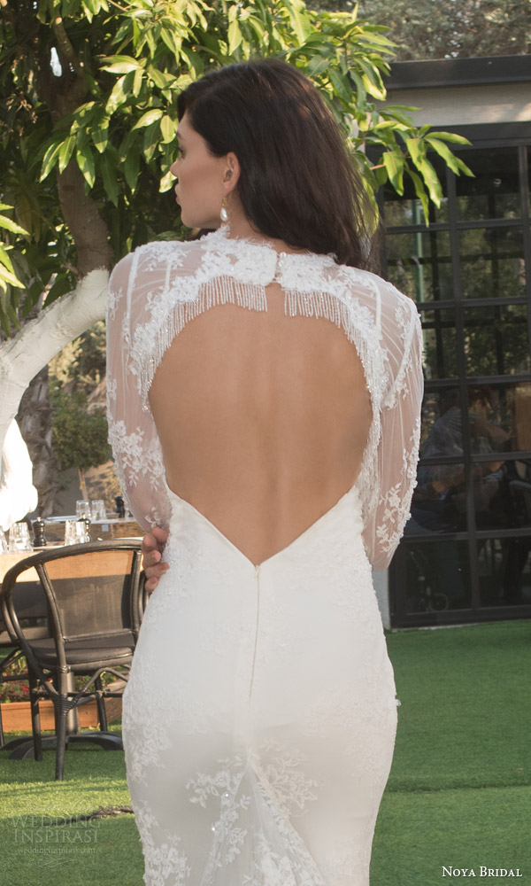 noya bridal riki dalal 2015 style 1108 sweetheart lace sheath wedding dress illusion long sleeve lace topper heart keyhole back view close up beaded fringe frame