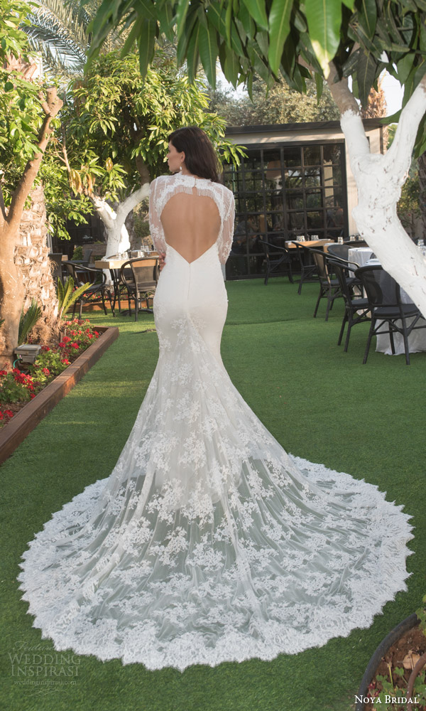 noya bridal riki dalal 2015 style 1108 sweetheart lace sheath wedding dress illusion long sleeve lace topper heart keyhole back view illusion train