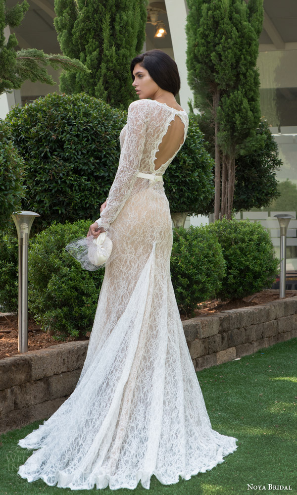 noya bridal riki dalal 2015 style 1101 long sleeve lace sheath wedding dress back view keyhole