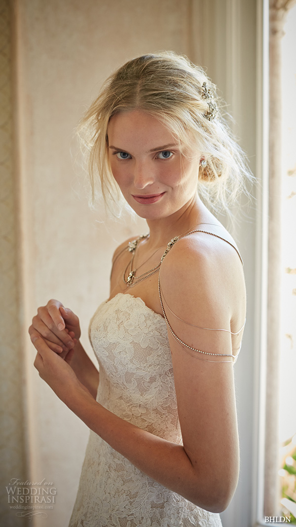 bhldn fall 2015 wedding dresses strapless sweetheart neckline slim fit lace ivory a line wedding dress adair close up