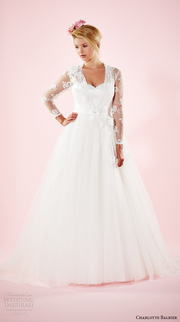 charlotte balbier 2016 bridal dresses lace sheer long sleeves sweetheart neckline tulle pretty a line wedding gown lilac
