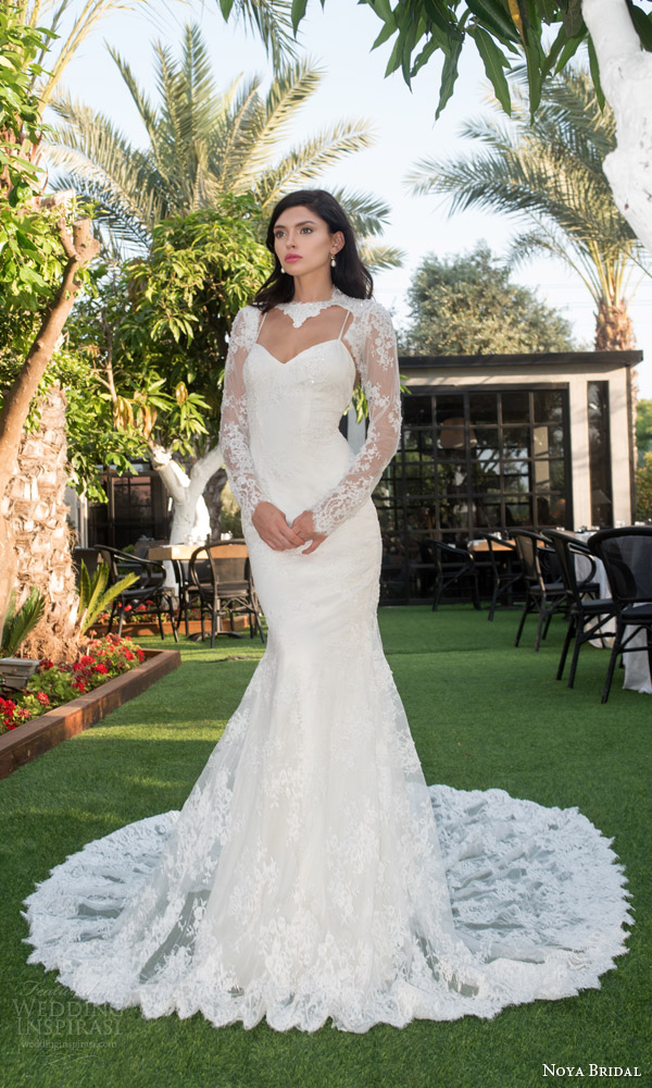 noya bridal riki dalal 2015 style 1108 sweetheart lace sheath wedding dress illusion long sleeve lace topper