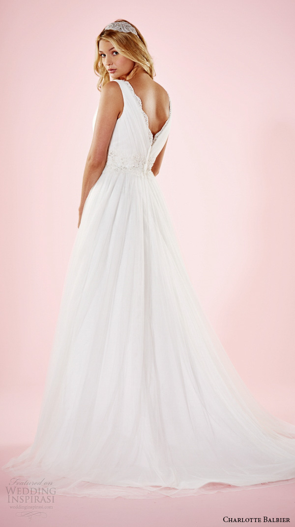 charlotte balbier 2016 bridal dresses thick strap v neckline beaded waist pretty a line wedding gown amba back