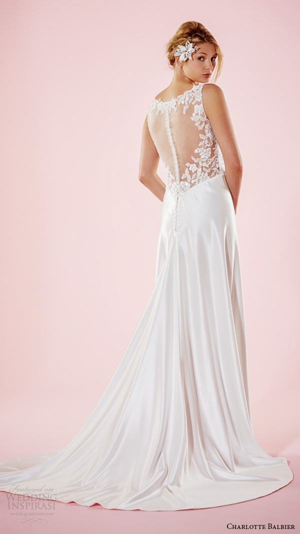 charlotte balbier 2016 bridal dresses v neckline with strap lace bodice elegant satin wedding gown everly back