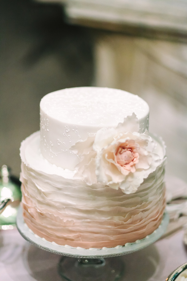 ombre pink cake - photo by Studio A+Q http://ruffledblog.com/destination-wedding-in-florence-at-vincigliata-castle