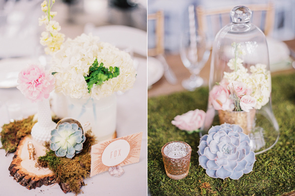 unique centerpieces - photo by Taylor Lord http://ruffledblog.com/spring-wedding-with-an-illusion-lace-gown