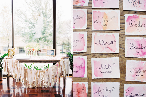 watercolor escort cards - photo by Taylor Lord http://ruffledblog.com/spring-wedding-with-an-illusion-lace-gown