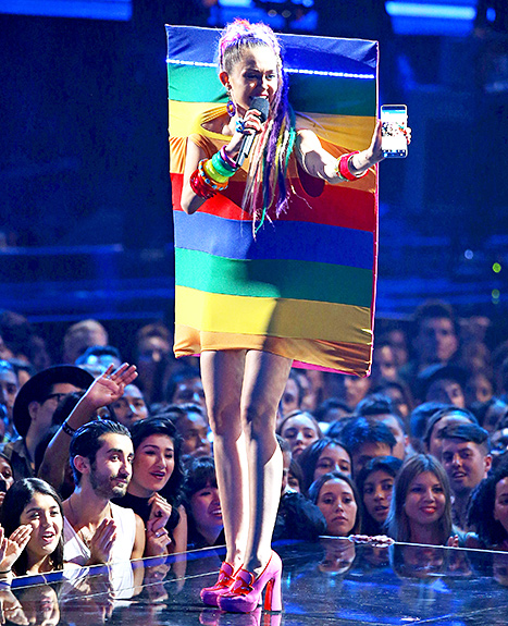 Miley Cyrus speaks onstage during the 2015 MTV Video Music Awards held at Microsoft Theater on August 30, 2015 in Los Angeles, California.