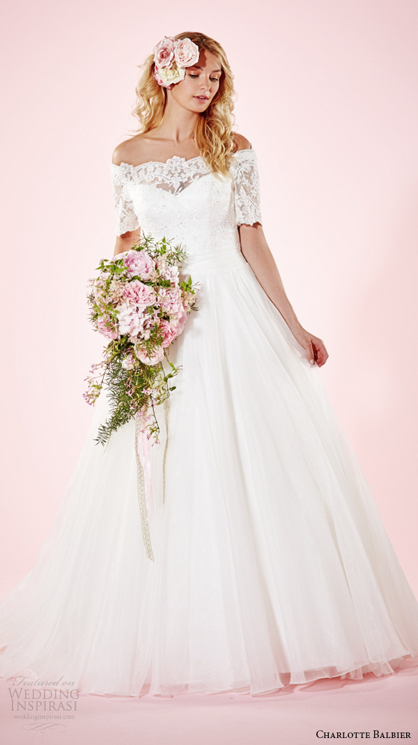 charlotte balbier 2016 bridal dresses off the shoulder half sleeves pretty a line wedding gown alexandria
