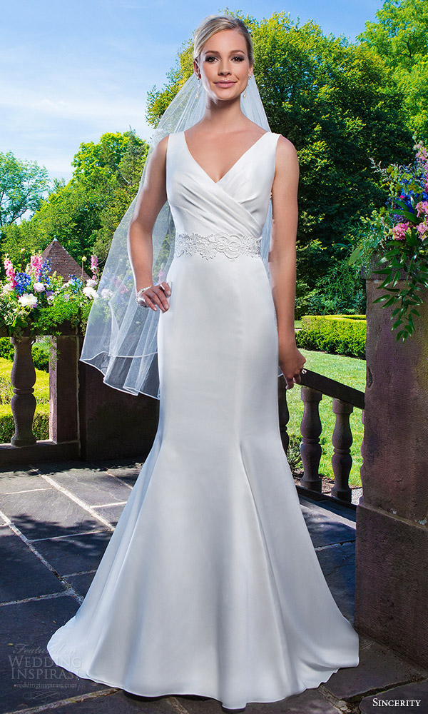 sincerity bridal 2016 style 3862 satin venice lace fit flare wedding dress