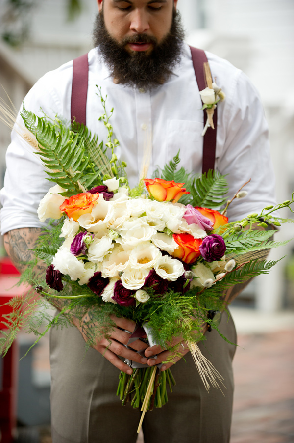 bouquet with lush greenery - photo by Andi Diamond http://ruffledblog.com/colorful-industrial-chic-wedding-shoot