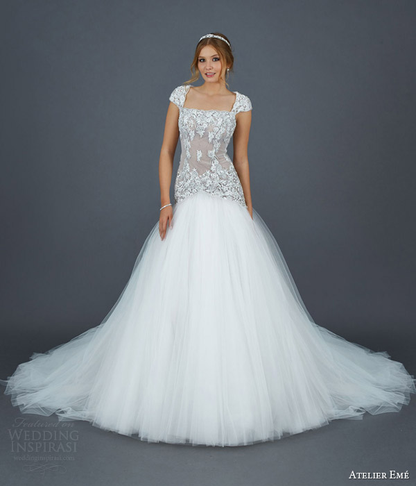 atelier eme 2016 bridal elisabeth tulle ball gown wedding dress hand embroidered bodice