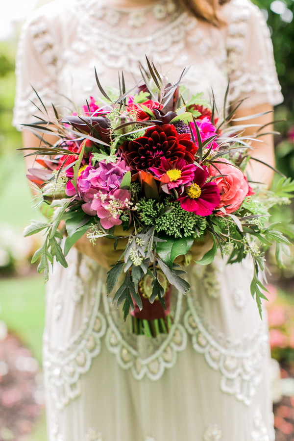 wild fuchsia bouquet - photo by Alexis June Weddings http://ruffledblog.com/london-inspired-jewel-tone-shoot