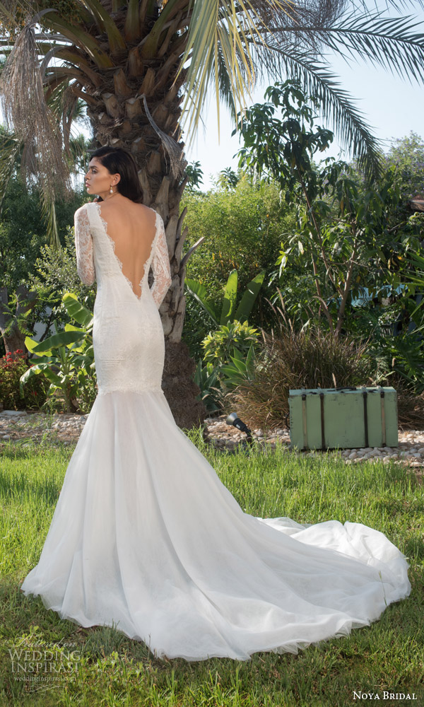 noya bridal riki dalal 2015 style 1102 illusion long sleeve mermaid wedding dress low back view train