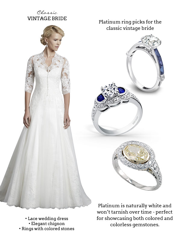 Platinum Rings with colored gemstones for the Classic Vintage Bride: (from top) Gumuchian, Kirk Kara, Peter Norman | Wedding dress: Enzoani Hamlet