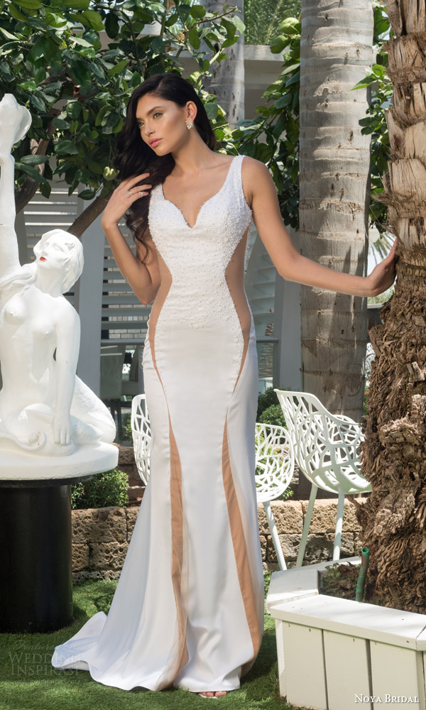 noya bridal riki dalal 2015 style 1107 sleeveless sheath wedding dress sheer nude side insert beaded bodice straps