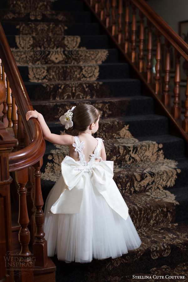 stellina cute couture 2015 2016 adorable designer baby toddler flower girl dress children attendant bridal party back view bow