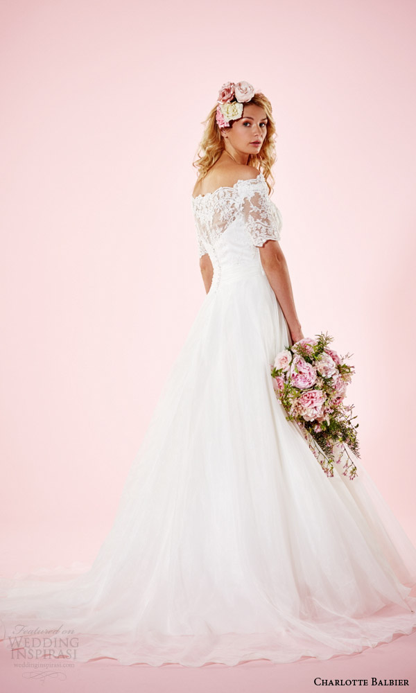 charlotte balbier 2016 bridal dresses off the shoulder half sleeves pretty a line wedding gown alexandria back train