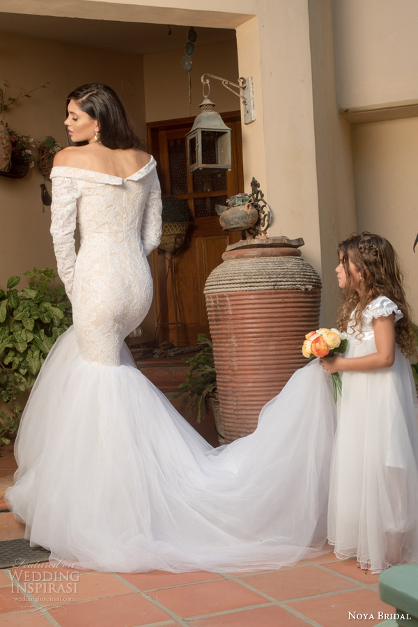 noya bridal riki dalal 2015 style 1111 off shoulder long sleeve lace wedding dress split neckline back view train flower girl