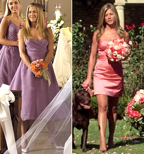 Jennifer Aniston's bridesmaid moments in Rumor Has It (left) and He's Just Not That Into You.