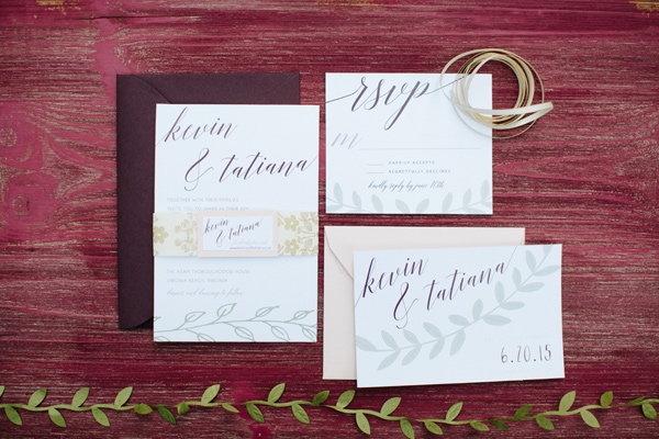 garden wedding invitations - photo by Chelsea Anderson Photography http://ruffledblog.com/crimson-bohemian-wedding-inspiration