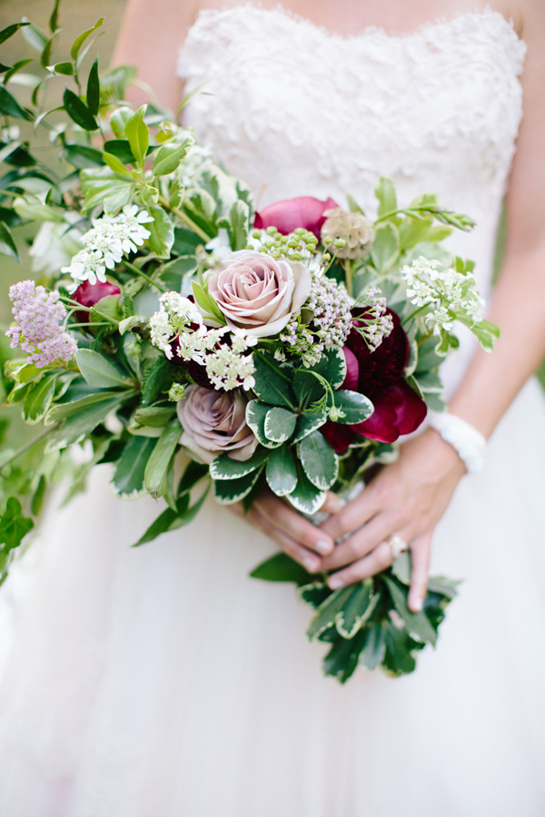 bouquet with greenery - photo by Chelsea Anderson Photography http://ruffledblog.com/crimson-bohemian-wedding-inspiration