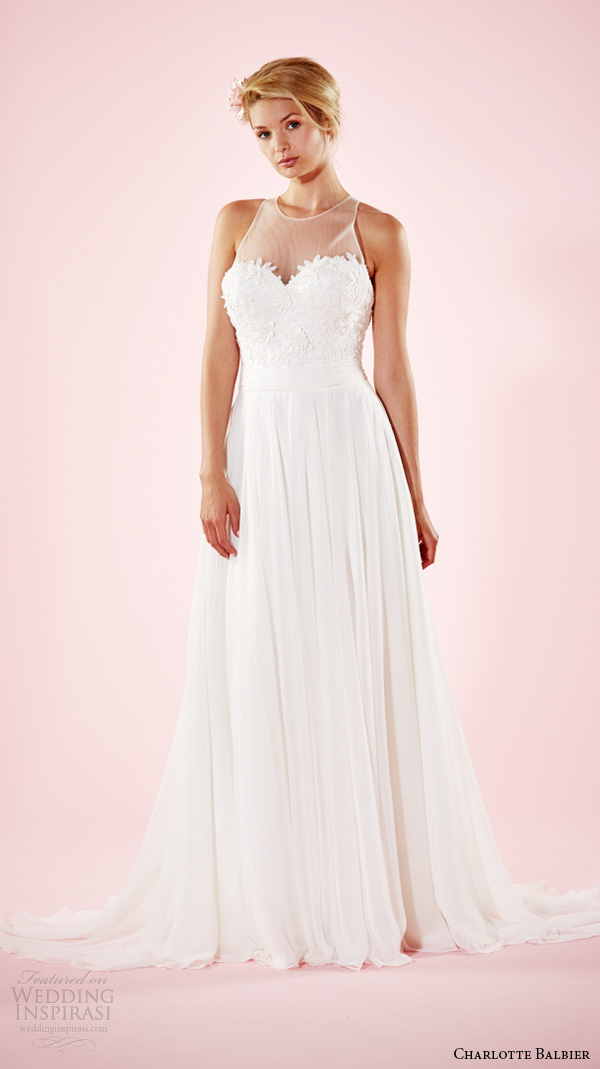 charlotte balbier 2016 bridal dresses sheer jewel neckline embroidered bodice flowy a line wedding gown willarose