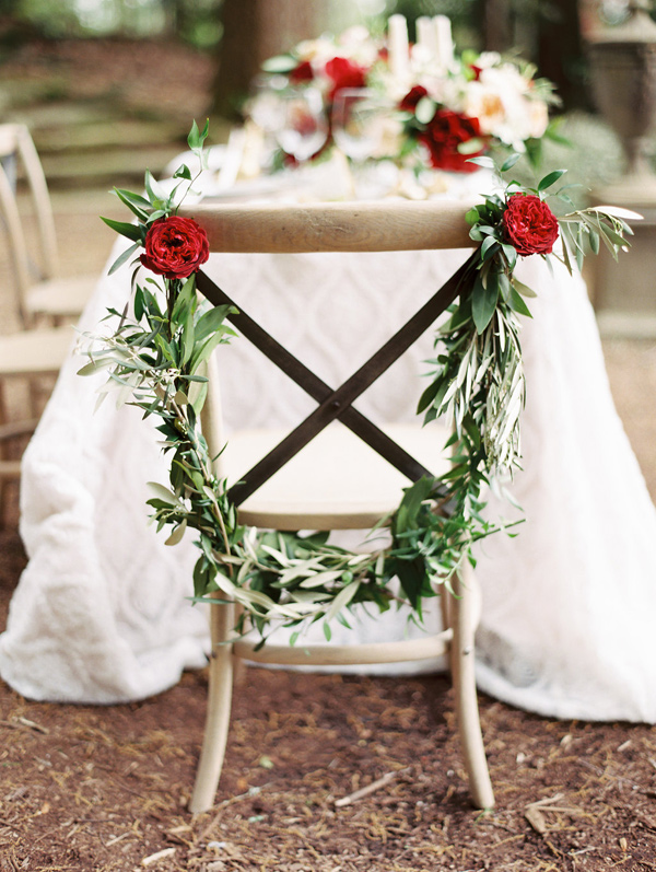 ceremony chair with eucalyptus - photo by Morning Light by Michelle Landreau http://ruffledblog.com/birth-of-venus-wedding-inspiration