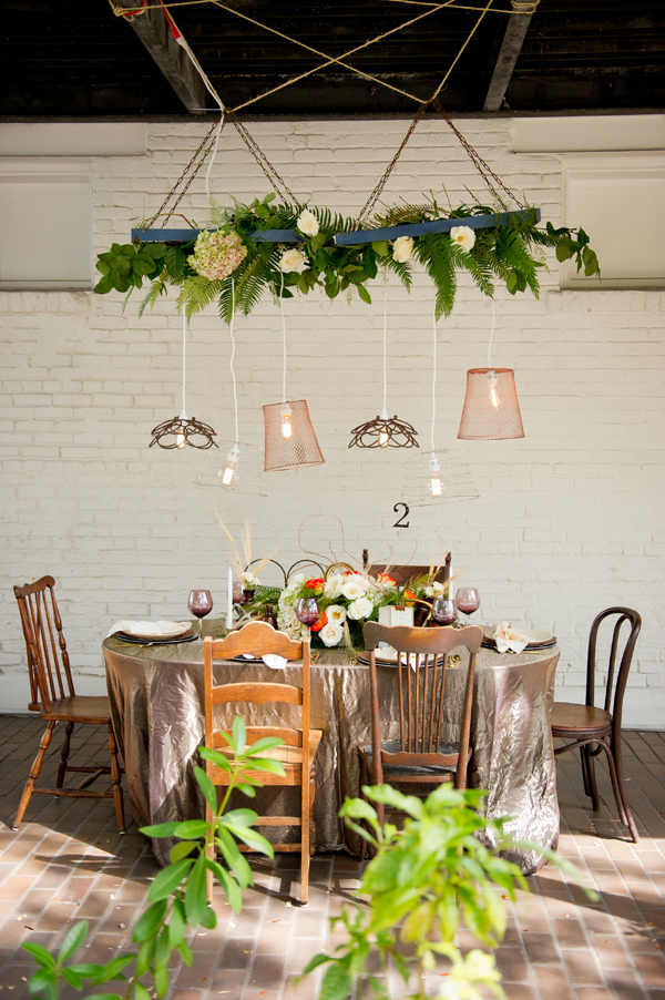 industrial garden reception - photo by Andi Diamond http://ruffledblog.com/colorful-industrial-chic-wedding-shoot