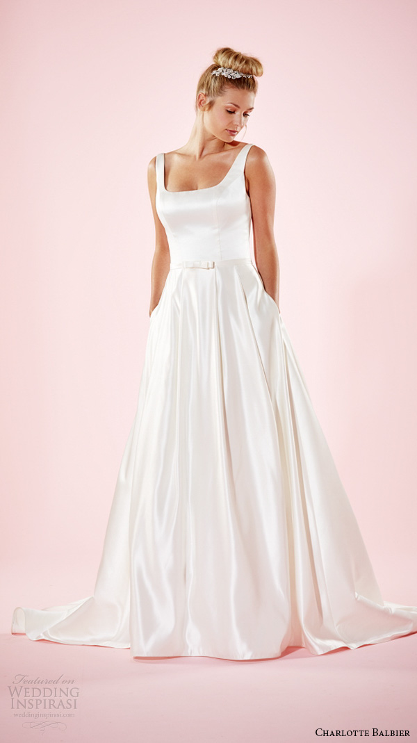 charlotte balbier 2016 bridal dresses strap square neckline simple satin a line wedding gown with pockets hanna