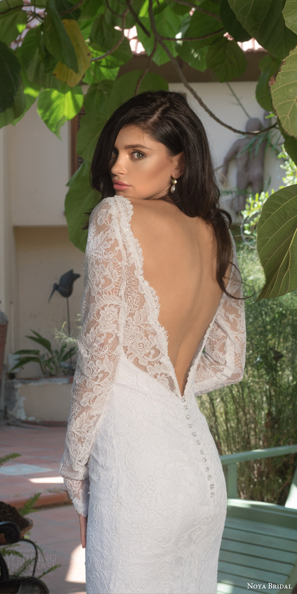 noya bridal riki dalal 2015 style 1113 illusion long sleeve wedding dress sheath silhouette low back view