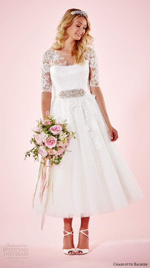 charlotte balbier 2016 bridal dresses lace half sleeves illusion neckline jeweled belt ankle length romantic short wedding gown marie