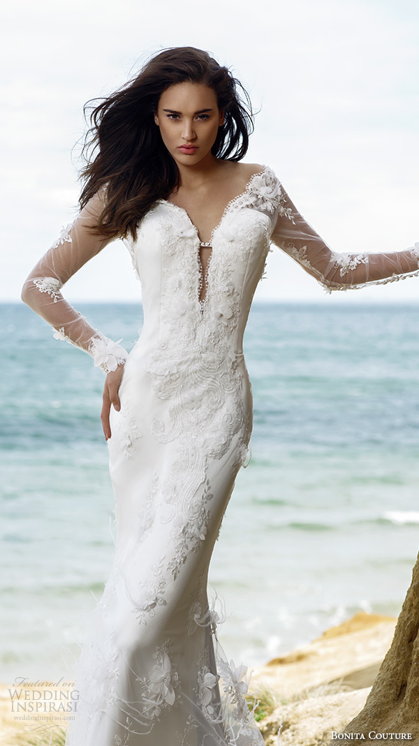 bonita couture 2015 wedding dresses sheer illusion long sleeves deep v plunging neckline floral embroidery slim fit mermaid wedding dress with fish tail train feather