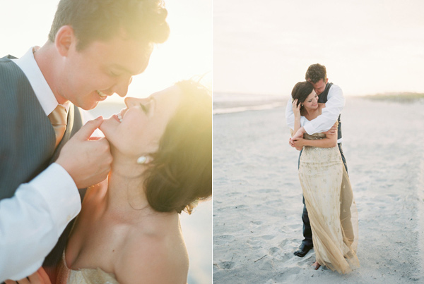 beach wedding portraits - photo by Sawyer Baird http://ruffledblog.com/romantic-north-carolina-beach-wedding