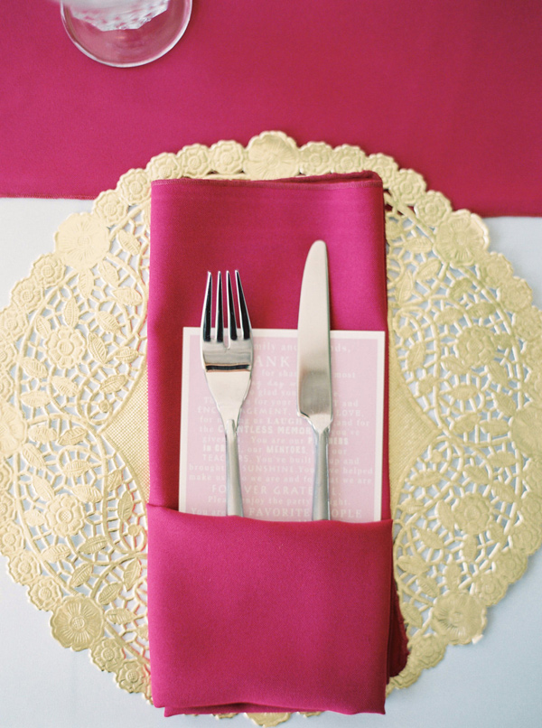 hot pink and gold wedding - photo by Sawyer Baird http://ruffledblog.com/romantic-north-carolina-beach-wedding