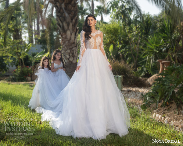 noya bridal riki dalal 2015 style 1109 princess ball gown wedding dress illusion long sleeves lace bodice