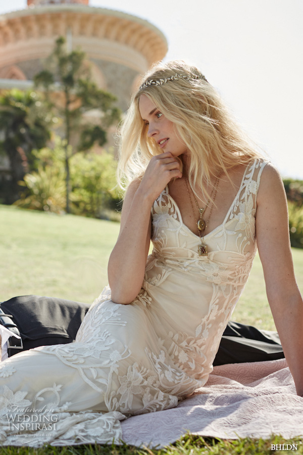 bhldn fall 2015 wedding dresses sleeveless lace strap deep v neckline vintage bohemian art deco ivory sheath wedding dress gwyneth