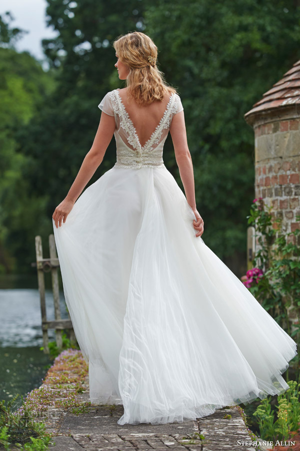 stephanie allin bridal 2016 dominique illusion shrug top tulle skirt v back view