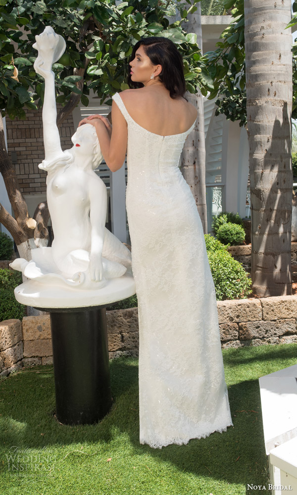 noya bridal riki dalal 2015 style 1114 wedding dress off shoulder straps high slit sweetheart back view