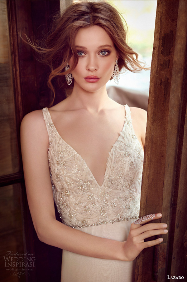 lazaro fall 2015 wedding dresses bridal chiffon a line v neckline beaded embroidered bodice crystal trim natural chapel train lz3554