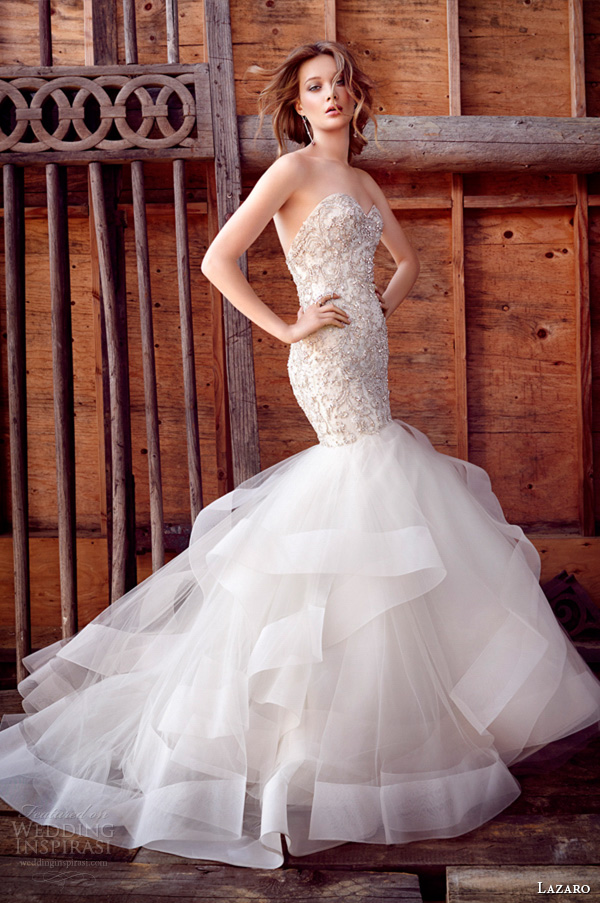 lazaro fall 2015 wedding dresses bridal beaded embroidered fit and flare tulle strapless sweetheart elongated wave horsehair chapel lz3553