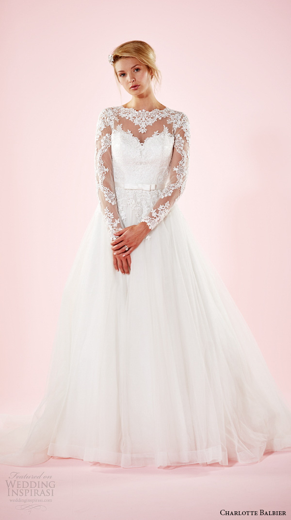 charlotte balbier 2016 bridal dresses jewel lace neckline long sleeves lace back beautiful tulle wedding ball gown marguerite