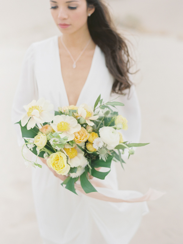 yellow and green bouquet - photo by D'Arcy Benincosa Photography http://ruffledblog.com/minimalist-sand-dunes-wedding-inspiration