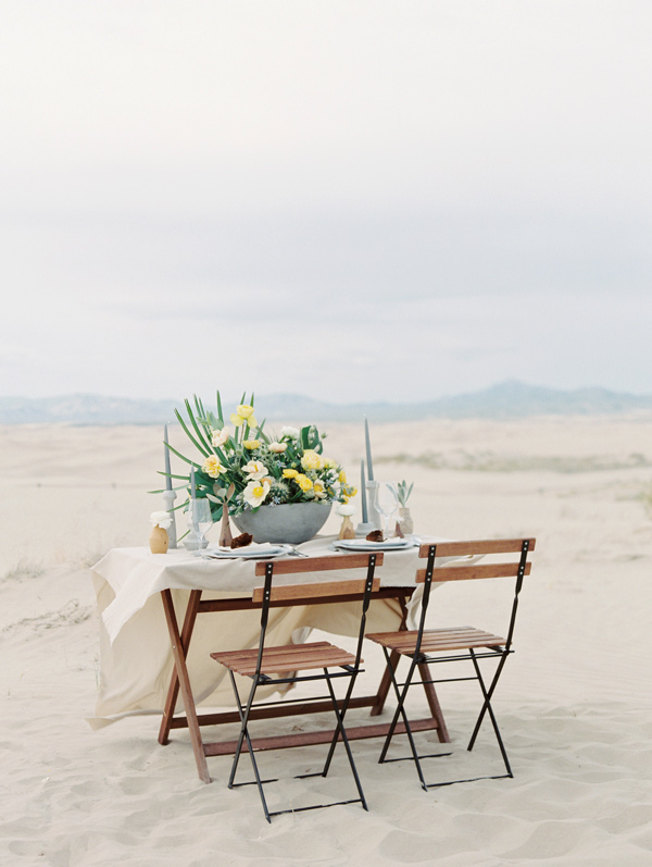 desert wedding reception - photo by D'Arcy Benincosa Photography http://ruffledblog.com/minimalist-sand-dunes-wedding-inspiration