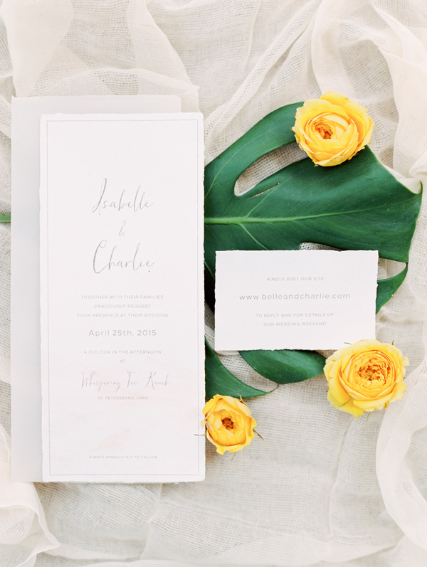 simple wedding invitations - photo by D'Arcy Benincosa Photography http://ruffledblog.com/minimalist-sand-dunes-wedding-inspiration