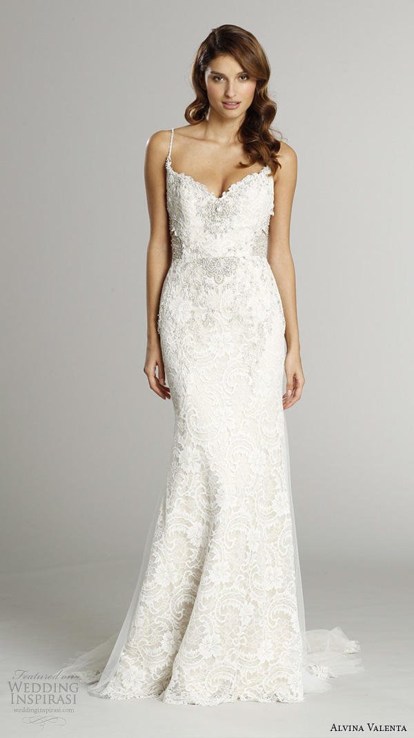 alvina valenta fall 2015 wedding dresses spagetti jeweled strap sweetheart neckline jewel embroidery throughout open back skirt godets trumpet wedding dress av9560 front view