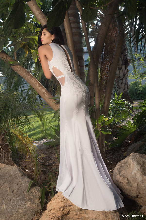 noya bridal riki dalal 2015 style 1106 sleeveless sheath wedding dress side sheer insert back view keyhole detail