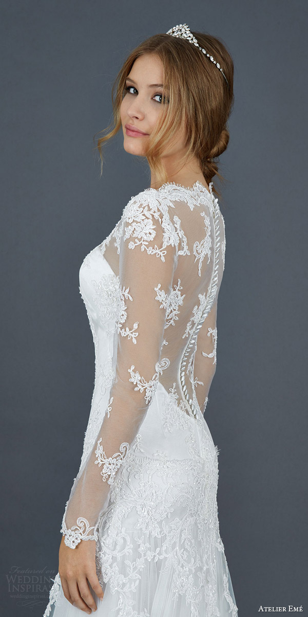 atelier eme 2016 roseto illusion long sleeve scallope lace neckline wedding dress elegant side view close up