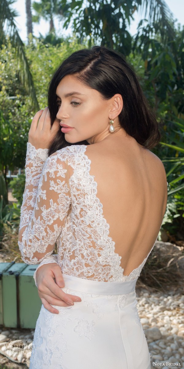 noya bridal riki dalal 2015 style 1105 long sleeve lace bodice wedding dress low back view close up