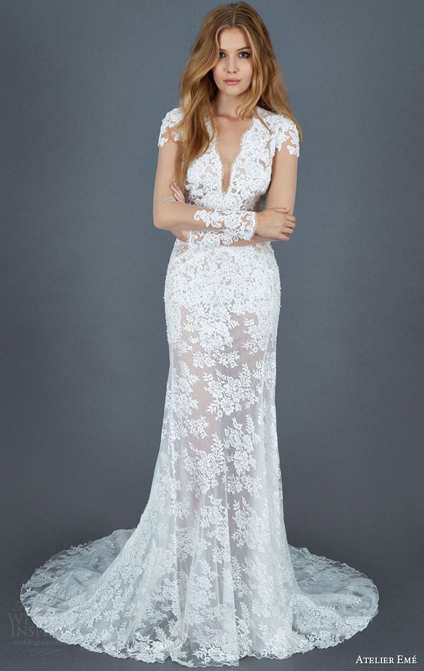 atelier eme bridal 2016 gio illusion long sleeve sheath lace wedding dress